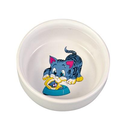 Keramikskål katt med motiv Blå