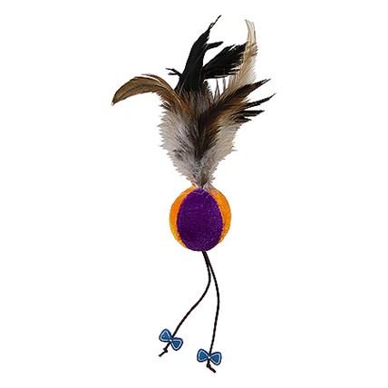 Kattleksak Ball with Feather Purpel/Orange