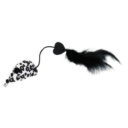 Kattleksak Mouse, Tail with Black long Feather