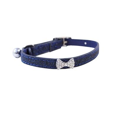 Katthalsband glitter blå med rosett