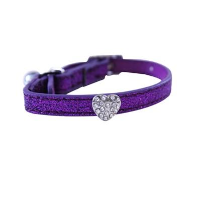 Katthalsband glitter lila med hjärt