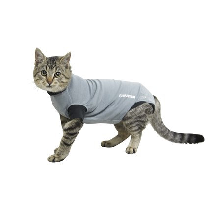 Buster Body Suit till katt, grå/svart, XXS