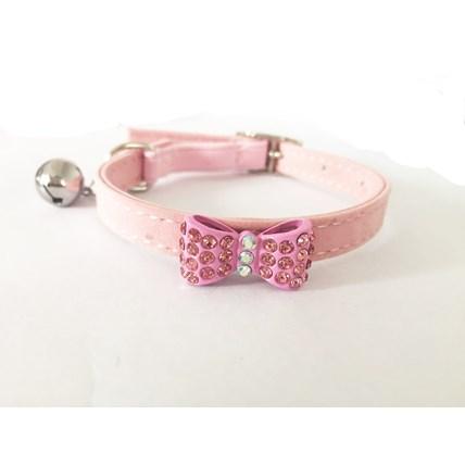 Katthalsband strass rosett rosa