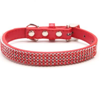Hundhalsband Röd strass, S