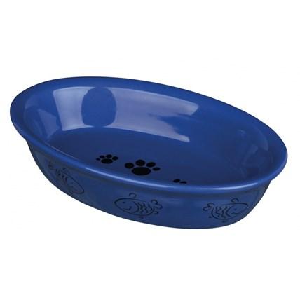 Keramikskål katt, oval blå