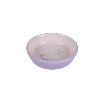 Keramikskål katt fiskben Lila