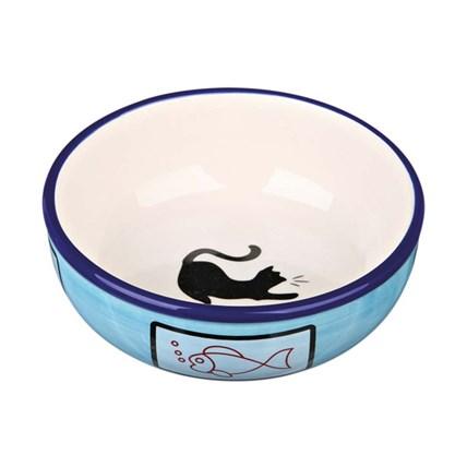 Keramikskål kattmotiv Blå