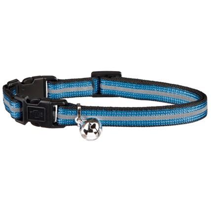 Katthalsband reflex med dubbla safty knäppen blå
