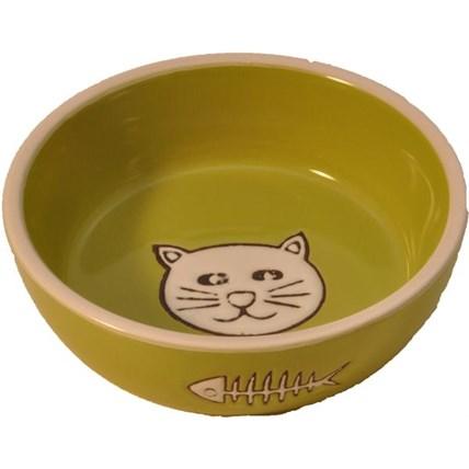 Kattmatskål i keramik katt lime