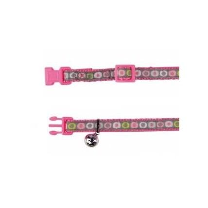 Katthalsband färgglatt med cirklar rosa