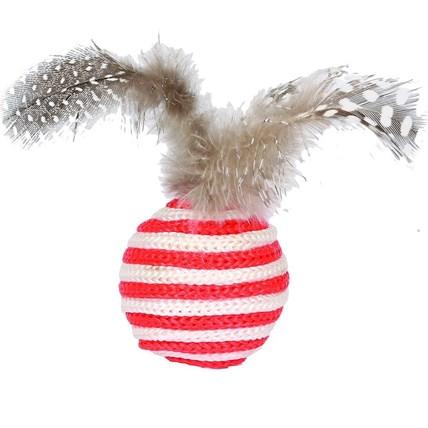 Kattleksak trådboll med fjäder, Röd
