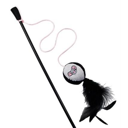 Kattvippa svart och vit med musmotiv och fjädrar