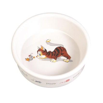 Keramikskål Glad katt med motiv
