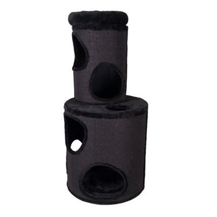 Klös tunna svart med två våningar 55x55x118cm
