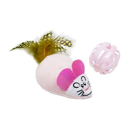 Kattleksaker Rosa fjädermus och pinglande boll
