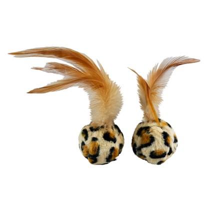 Kattleksaker Leopardbollar med fjädrar 2-pack