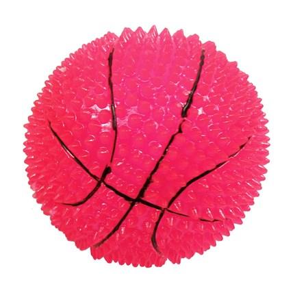 Hundleksak Blinkande basketboll m mjuka piggar, 6,5 cm
