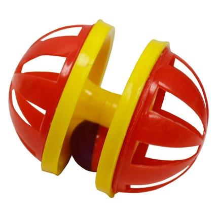 Pritax Rullande kattleksak gul/röd 9 cm