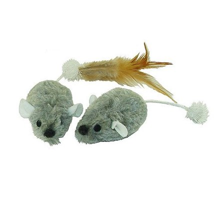 Kattleksaker Plush Mice with Tail 2-pack