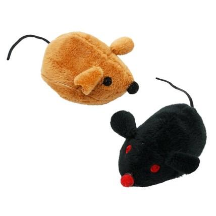 Kattleksaker brun och svart mus m prassel 2-pack