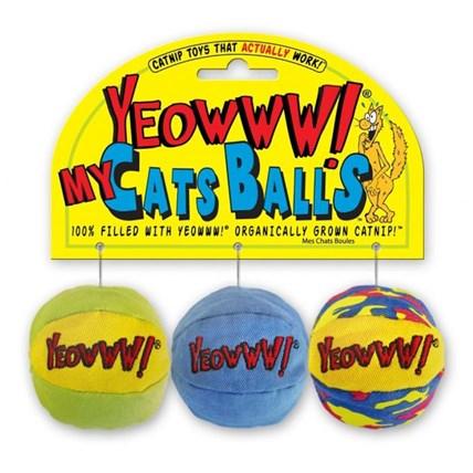 Kattleksak YEOWWW boll 3 pack