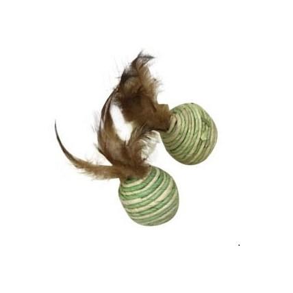Kattleksaker Aveo's skrammelbollar med fjädrar