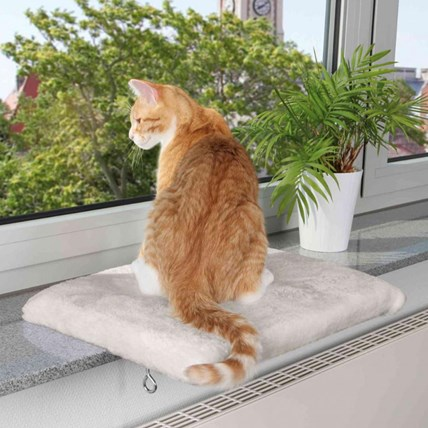 Fönsterbräda katt Vit/grå