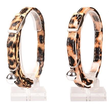 Katthalsband Leopard Leatherette, Beige
