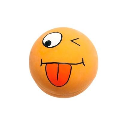 Kattleksak latexboll med lustigt ansikte gul