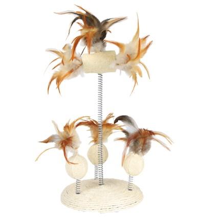 Kattleksak sisal & fjädrar på platta