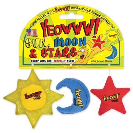 Kattleksaker YEOWWW sol,måne,stjärna