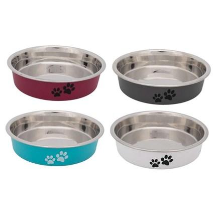 Matskål rostfri för kortnosiga katter med tasstryck, Vit