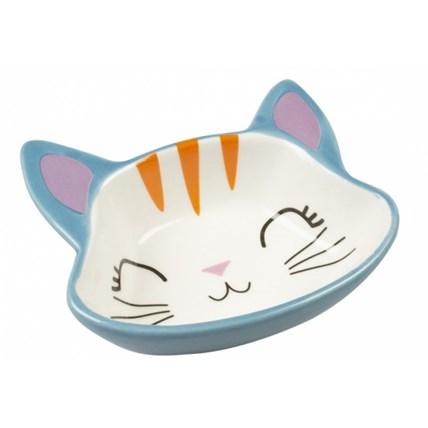 Matskål Duvo Kitty Face Blå/Vit