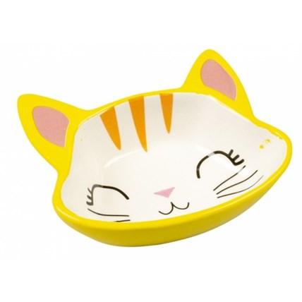 Matskål Duvo Kitty Face Gul/Vit