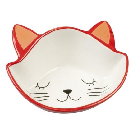Matskål Duvo Stone Kitty Face Röd/Vit