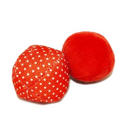 Kattleksak Plyschboll & Nylonboll Ø6cm Röd