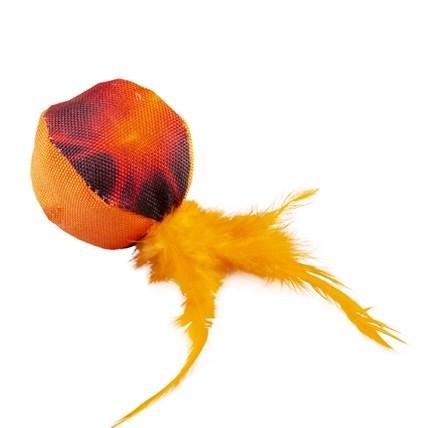 Kattleksak Flash Boll med Fjäder Orange