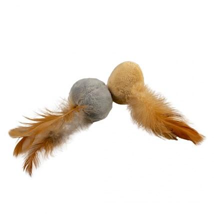 Kattleksak Plyschbollar med Fjäder Brun/Grå 2pack