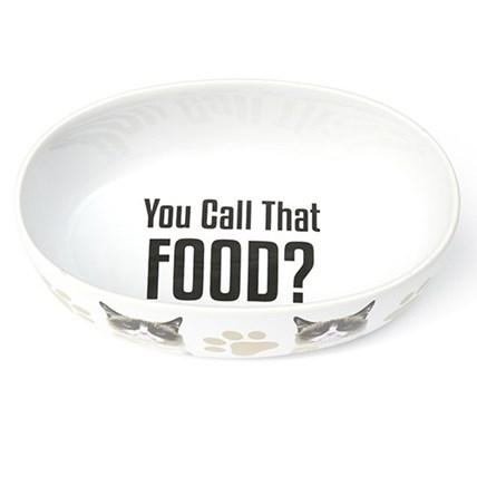 Kattmatskål YOU CALL THAT FOOD Oval Enkel Vit
