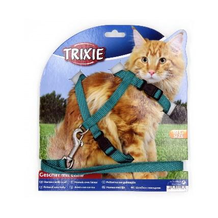 Kattsele+koppel för stora katter, Turkos