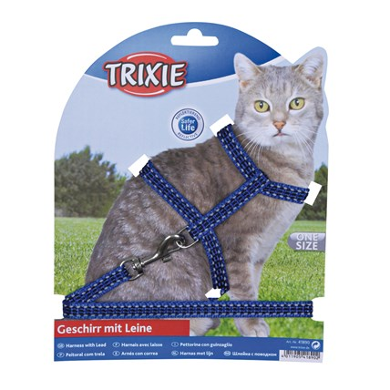 Kattsele+koppel ställbar Reflex Blå