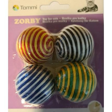 Kattleksaker Bollar klädd med glansiga trådar 4-pack