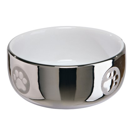Keramikskål, 0,3L, 11 cm, silver/vit